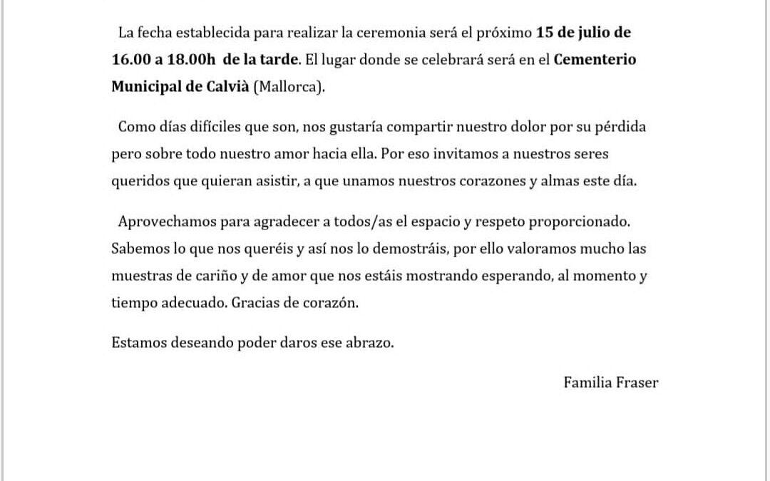 COMUNICADO FAMILIA FRASER